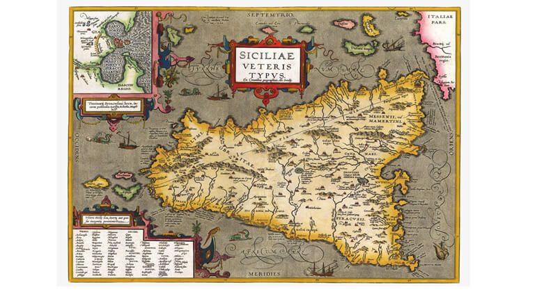 Carta della Sicilia Abraham Ortelius