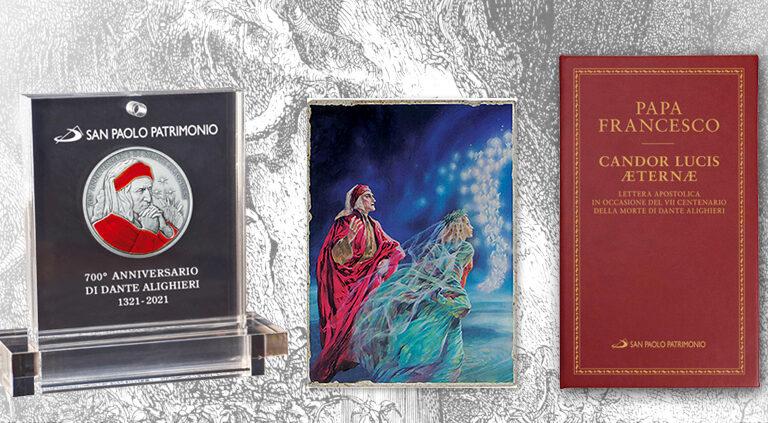 Medaglia 700° Dante Alighieri - Con formella e libro allegato
