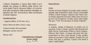 Medaglia 700° Dante Alighieri - Con libro allegato 5
